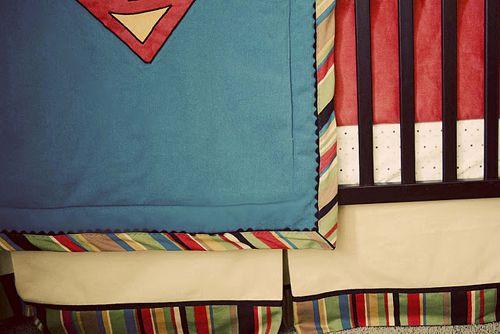 vintage comic book boy nursery superman red blue crib bedding