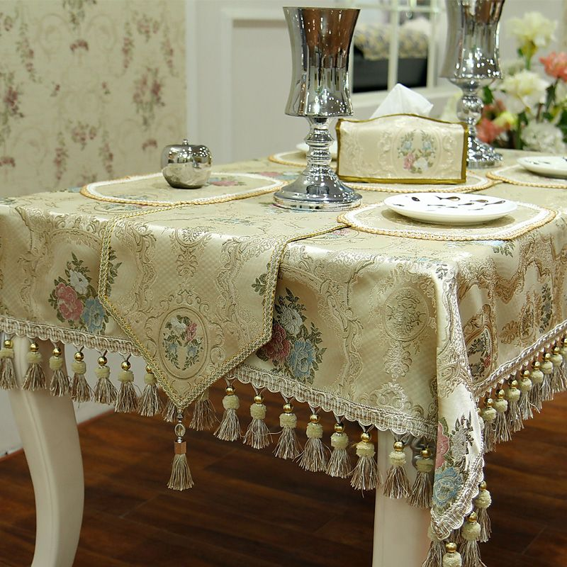 Top Quality Blending European Style Luxury Dinning Table Cloth / Custom  Make Thick Heavy Fine Fabric Decorative Table Covers
