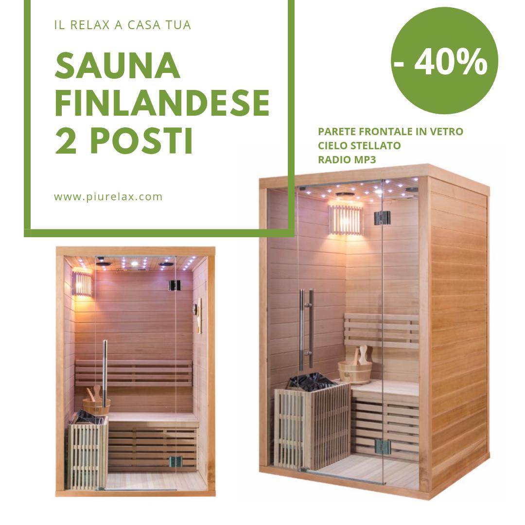 Sauna Finlandese 2 Posti Con Stufa 3 Kw Inclusa Di Pietre