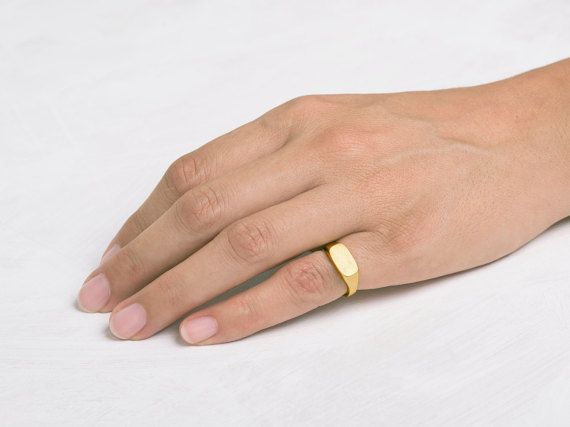 Pinky Signet Ring Rectangle Solid 14k 18k Yellow Gold Band Geometric Wedding Seal Womens Bands And