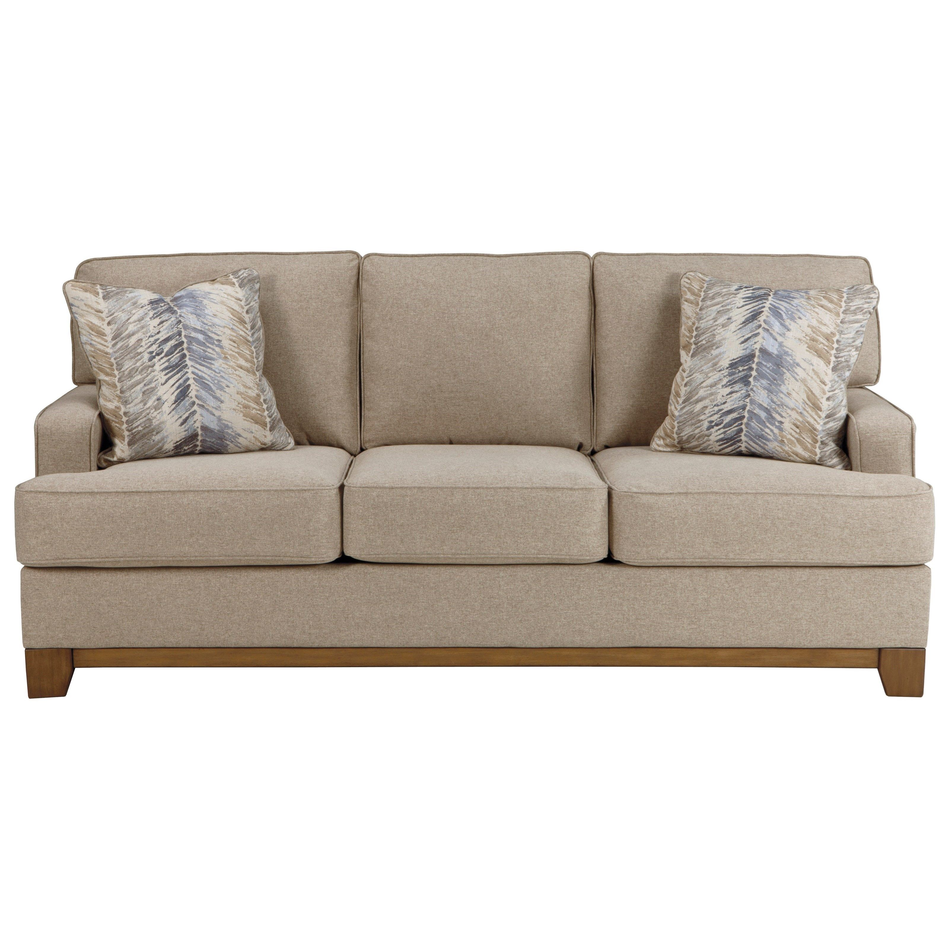 Hillsway Contemporary Sofa With Exposed Wood Front Rail By