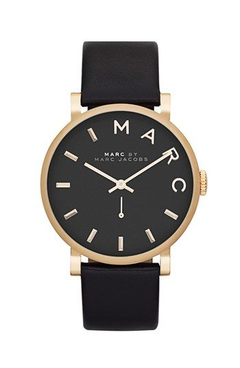 marc by marc jacobs 39 baker 39 leather strap watch 37mm available at nordstrom 175 ladys. Black Bedroom Furniture Sets. Home Design Ideas
