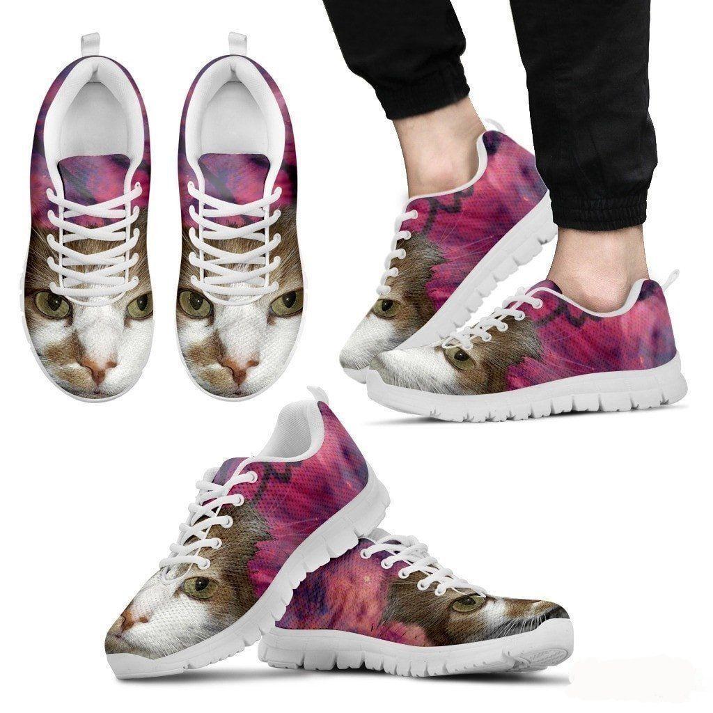 Cat Print Pink Running Shoe Men Free Shipping Running