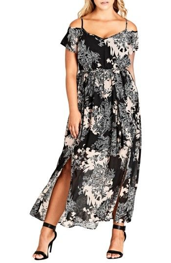 Free shipping and returns on City Chic Floral Shadow Cold Shoulder