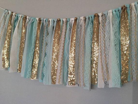 Tiffany Blue Aqua Gold Sequin Fabric Garland By