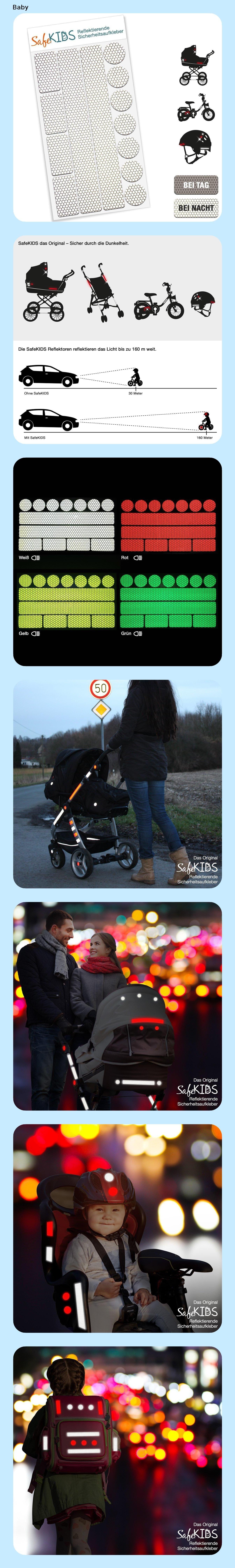 Motoking Safekids Leuchtaufkleber Weiss 13 Stuck Fur Kinderwagen Fahrrad Helm Und Mehr Kinder Wagen Kinderwagen Aufkleber