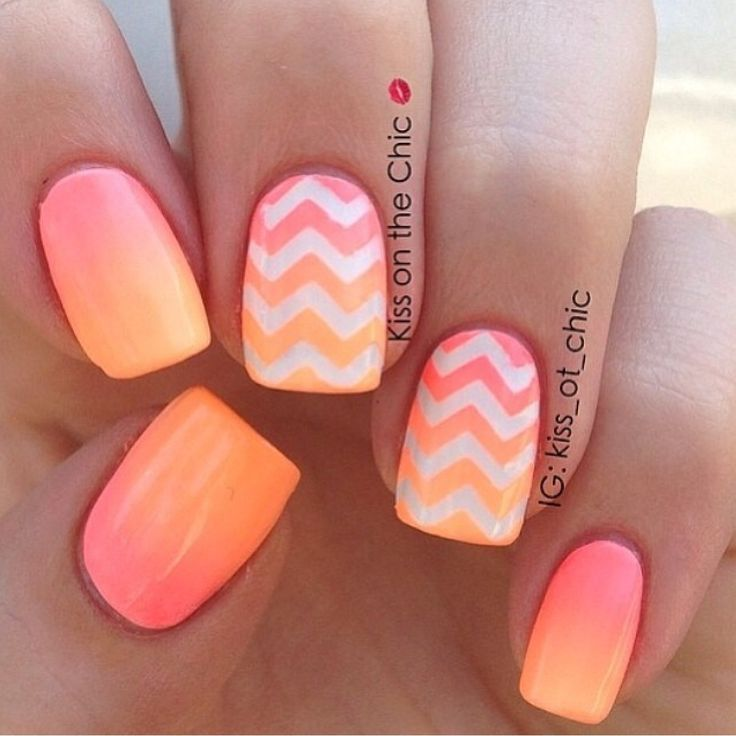 19 Gorgeous Ombre Nails - Peach ombré nails with chevron ombré accents is  beyond… - 20 Awesome Summer Nail Designs Complimenting The Season With Hues