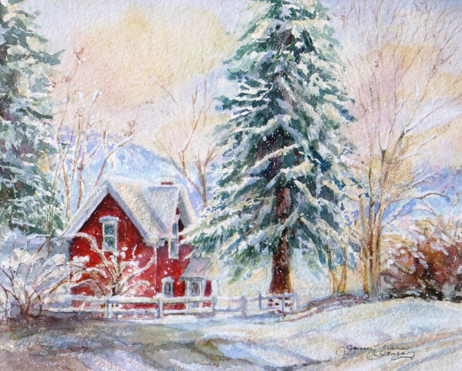 Christmas house with snow art - Winter Snow Signed Giclee Print Watercolor Snow Painting Red Cottage Winter Landscape Print Wall Decor Janice Trane Jones Wall Decor