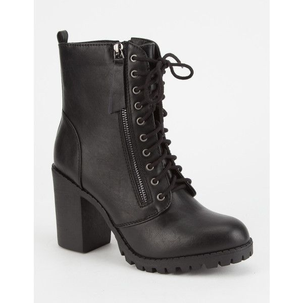 Soda Heeled Womens Combat Boots ($37) ❤ liked on Polyvore featuring shoes, boots, laced boots, faux-fur boots, side zip combat boots, military lace up boots and laced up boots