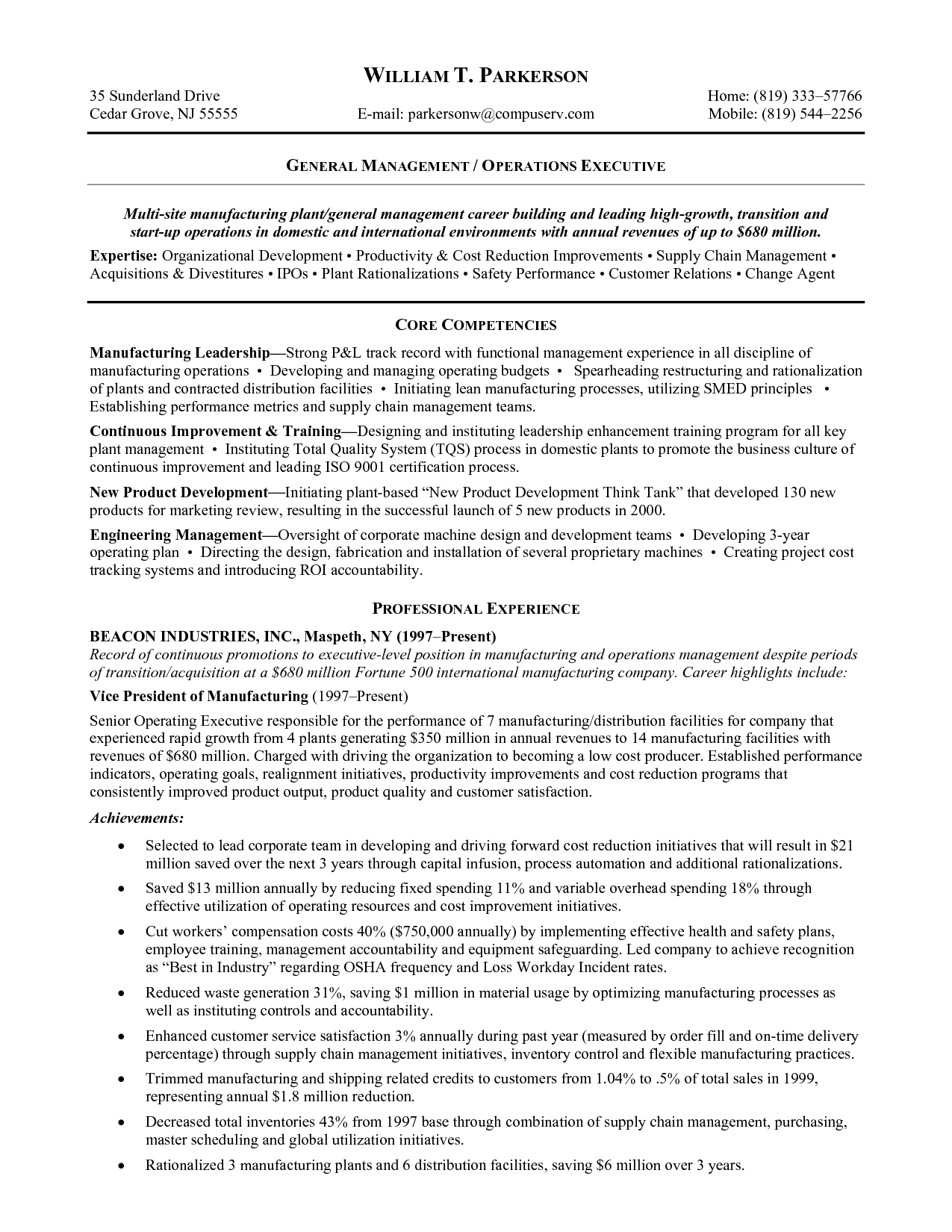 General Manufacturing Resume Samples Objective Examples Free Edit