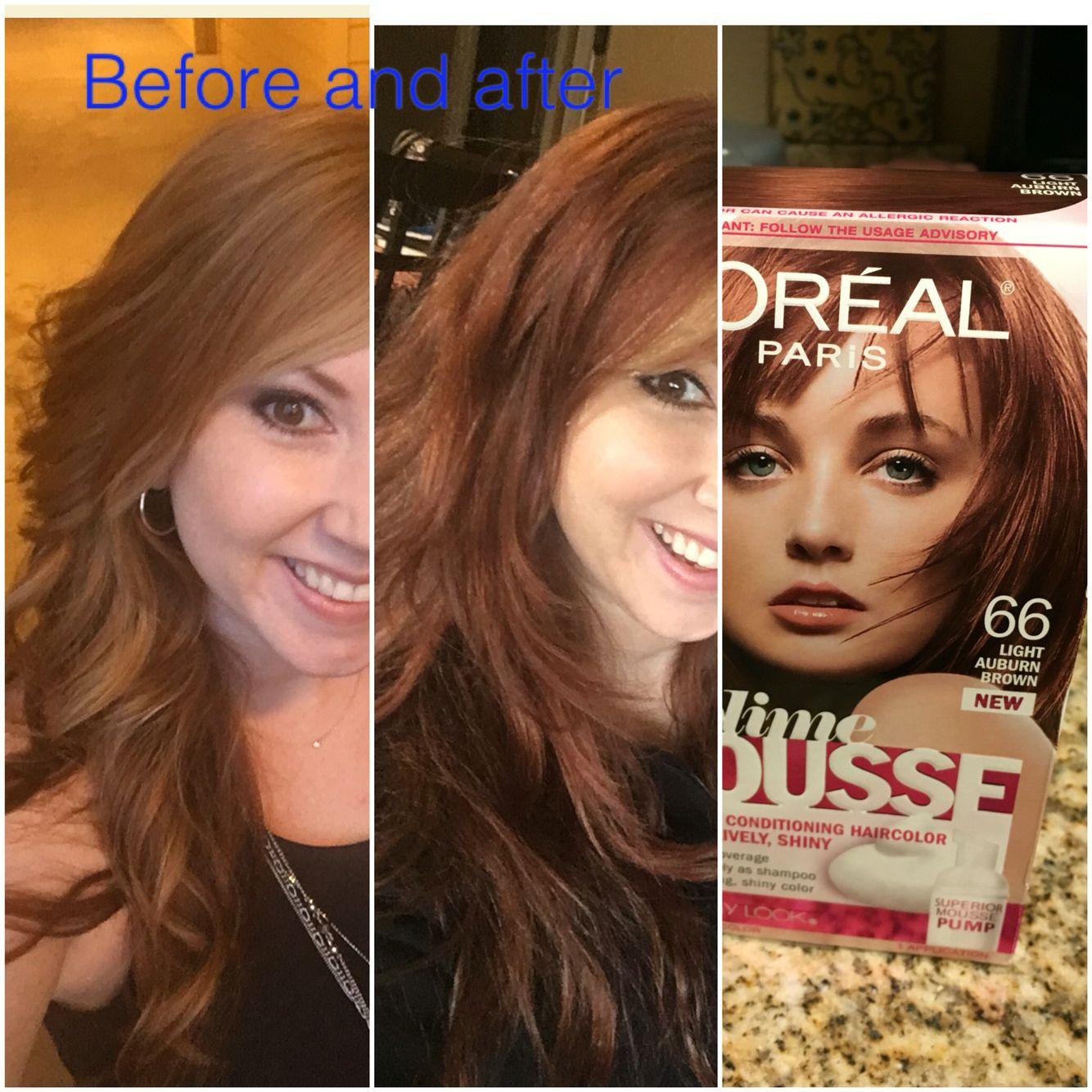 My New Favorite Red Auburn Brown Hair Color Loreal Sublime Mousse Diy Redhair Loveredhair 2016 Redbrownhair Boxdye 66 Light