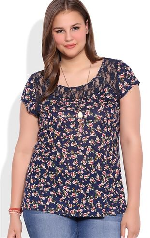 398df16fb76 Plus Size Short Sleeve Floral Print Tee Shirt with Lace Details Pantalones
