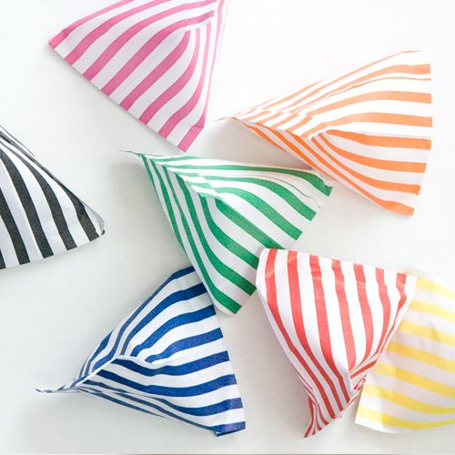 64 X Multi Colour Striped Paper Candy Bags