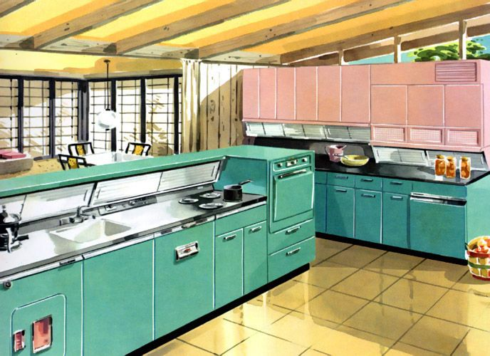 Model Kitchen 1957 The Pastel Tones Drawing Was Supposed To Make Women Want Spend Even More Time Doing Personally Unfulfilling Tasks