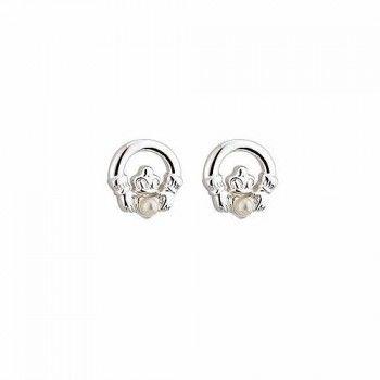 Childrens Claddagh & Pearl Stud Earrings