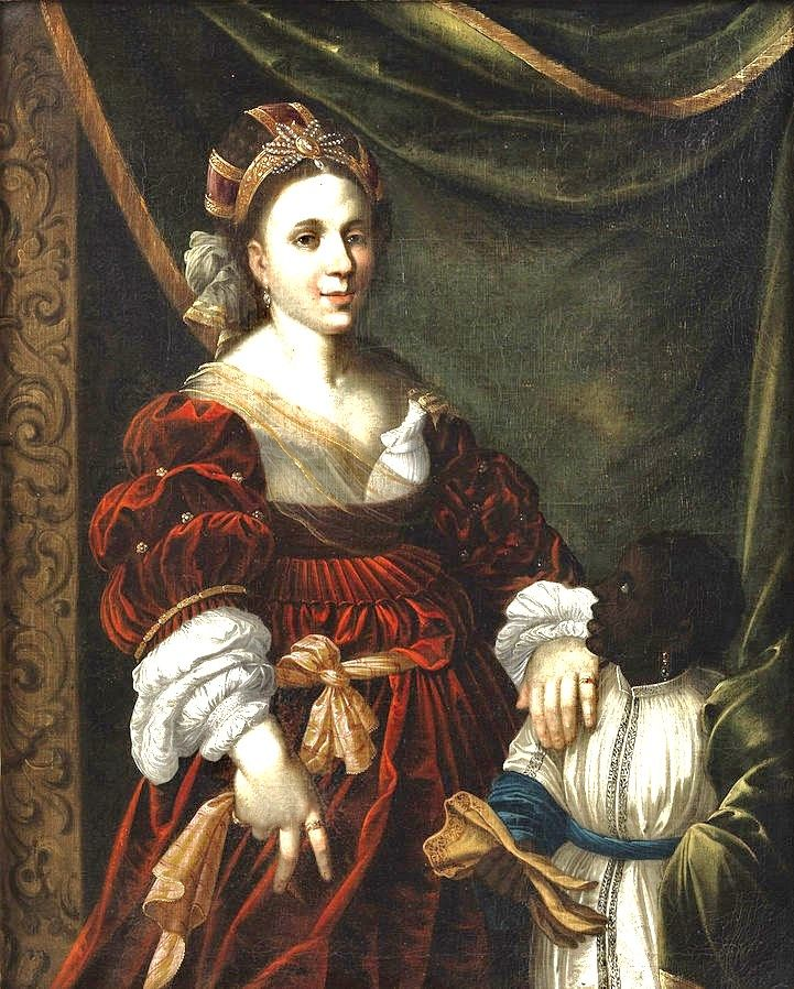 1600s Unknown Artist. German. Courtly Lady with Moor boy
