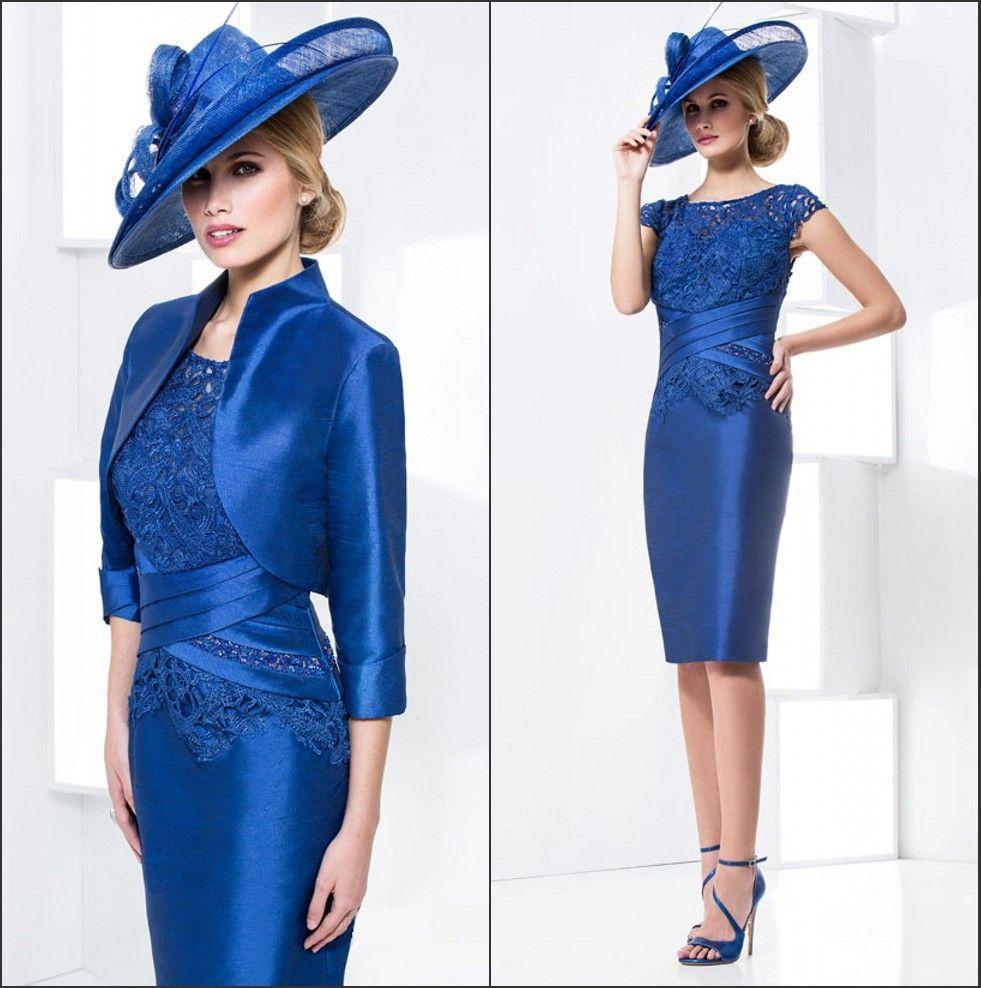 b20288c4851b6 Trouver plus Robes pour les mères de la mariée Informations sur Vintage  court mère de la mariée robes bleu marine dentelle robes de soirée avec  veste robes ...