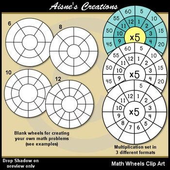 This Pack Contains 4 Blank Math Wheels For Creating Your Own Math Problems And A Set Of 12 Multiplication Wheels In 3 Different Math Template Math Crafts Math