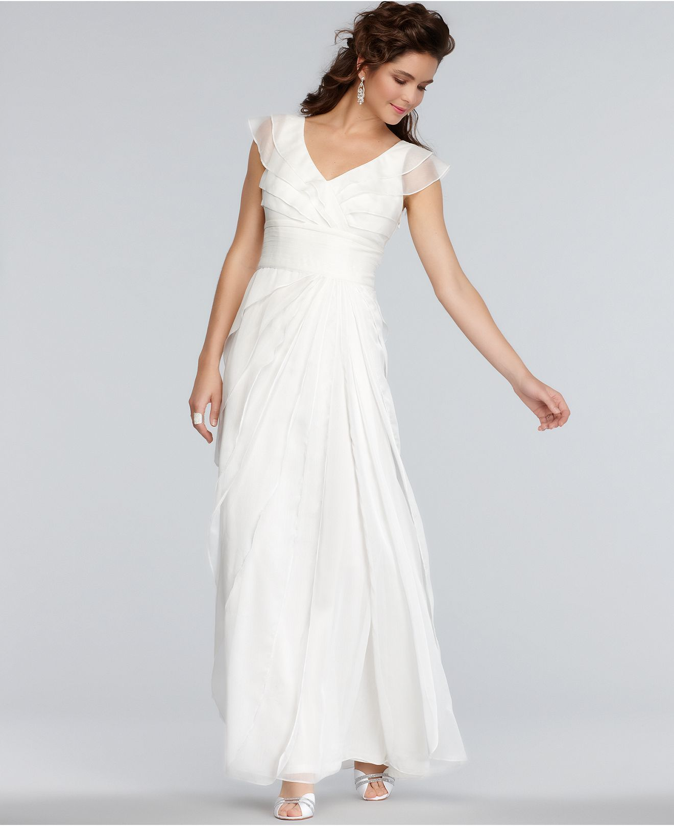 adrianna papell wedding dress papell dress cap sleeve pleated empire waist 1210