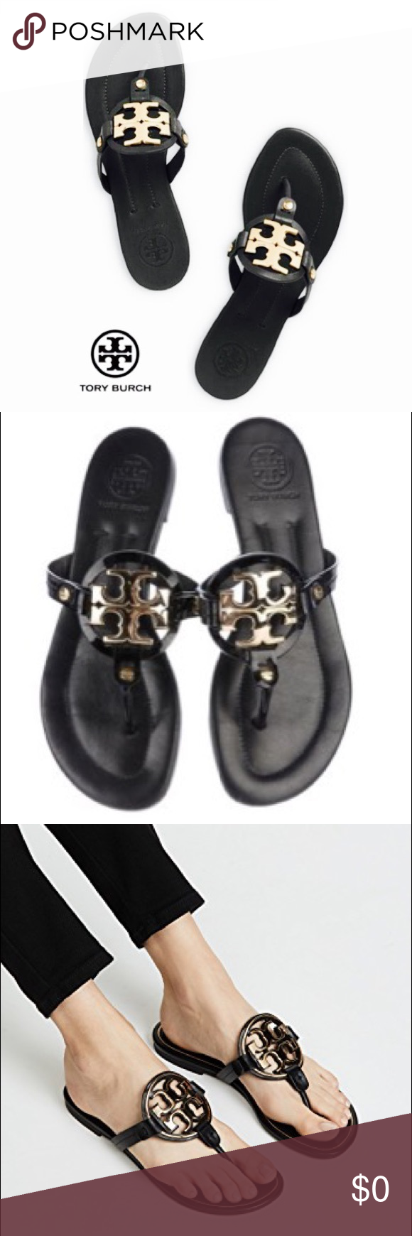 cb77093f2017fc Tory Burch Miller Leather Sandal Gold Metal Logo Tory Burch Miller Leather  Sandal Black Gold Metal Logo in good used condition check pics Tory Burch  Shoes ...