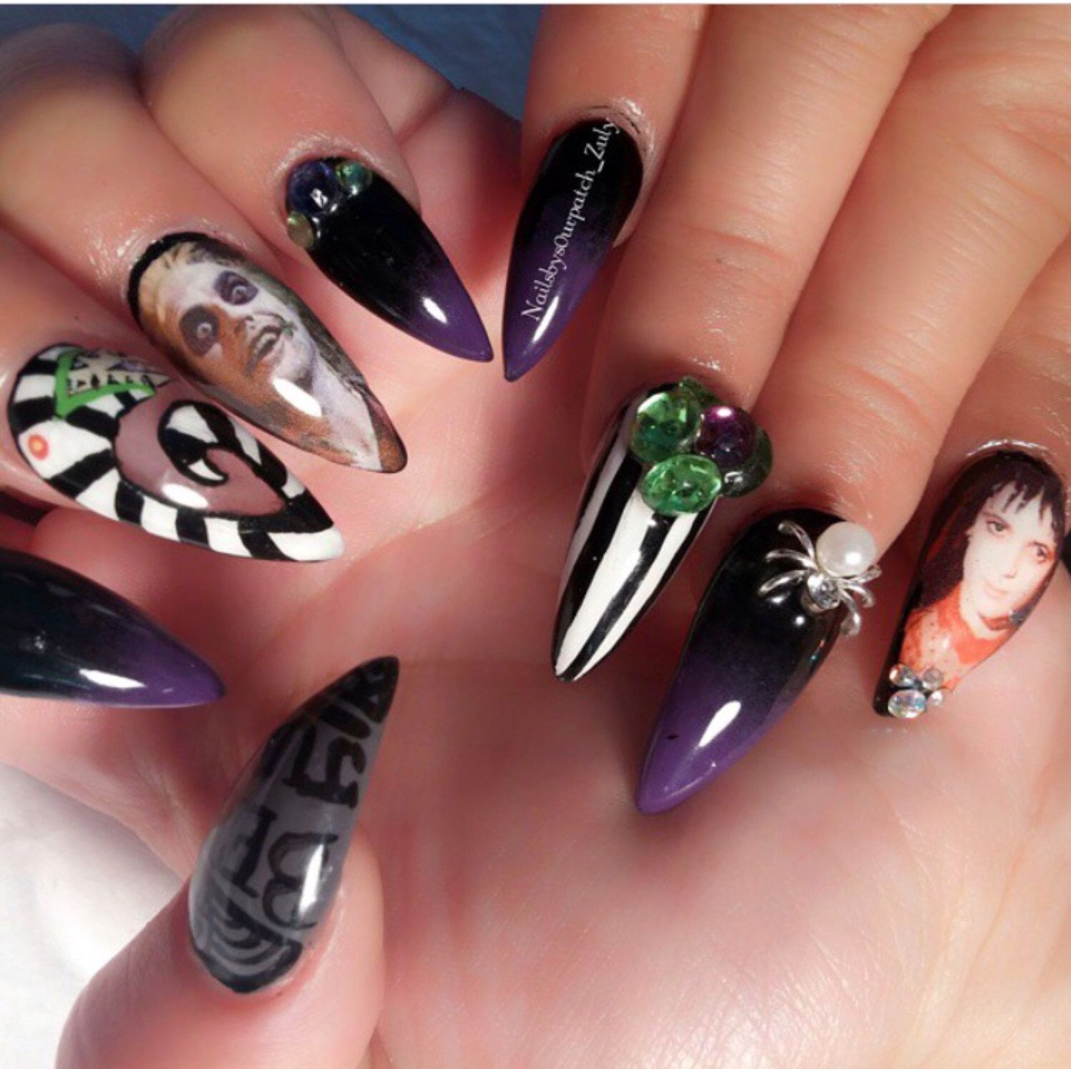Beetlejuice Nail Wraps by OoshaWraps on Etsy https://www.etsy.com ...