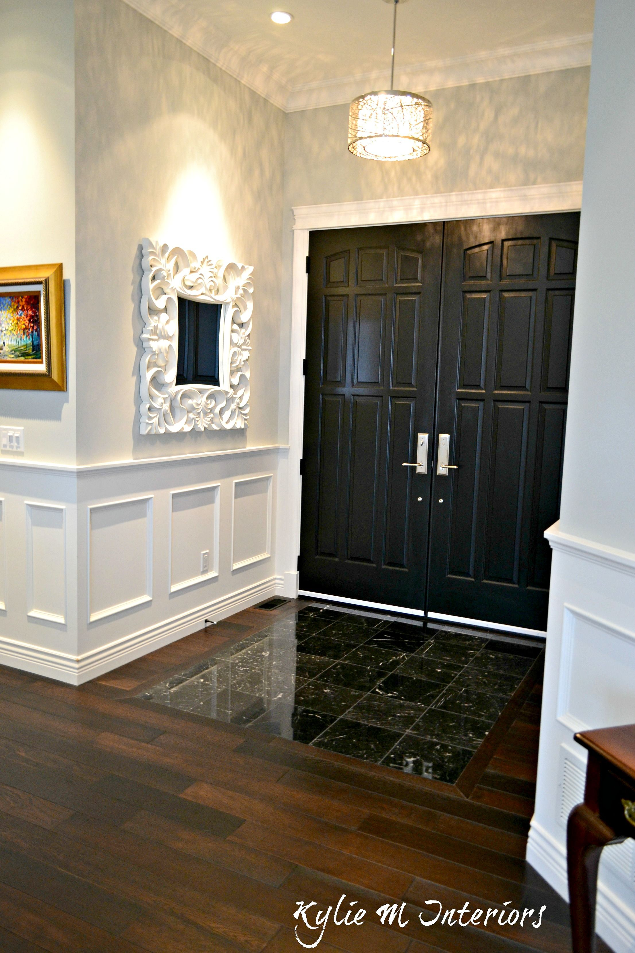 Gray And White Home Marble Dark Wood And More White Wainscoting Front Doors Painted Black Black Marble Tile