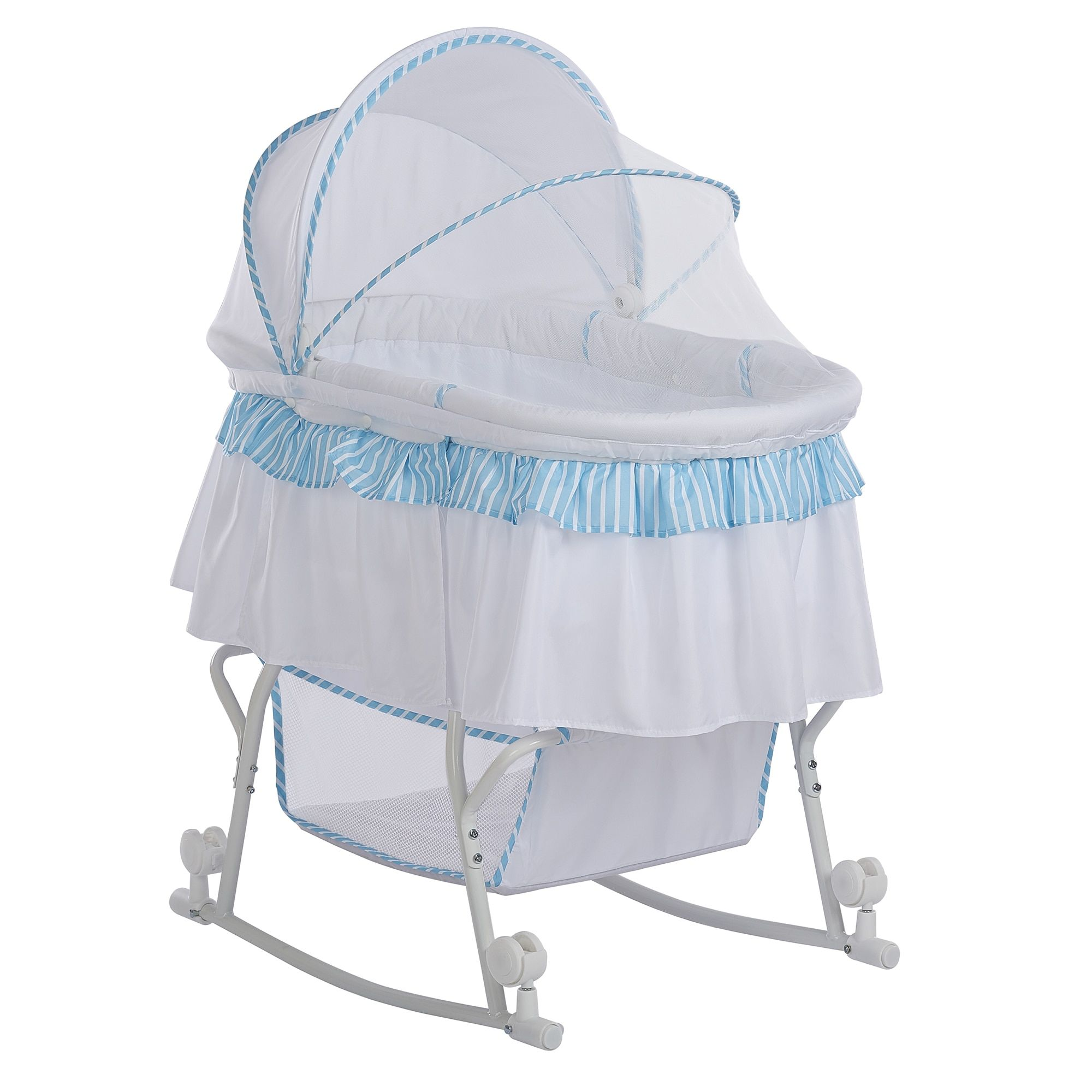 Dream On Me Lacy Portable 2 In 1 Bassinet And Cradle In Blue And