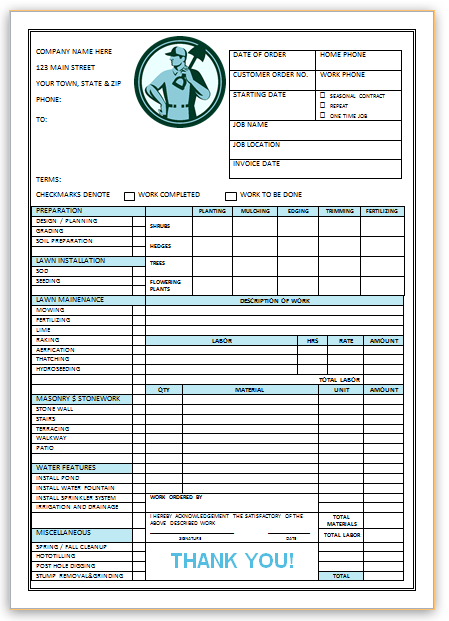 Landscaping Invoice Template 3 Landscaping Invoice Templates