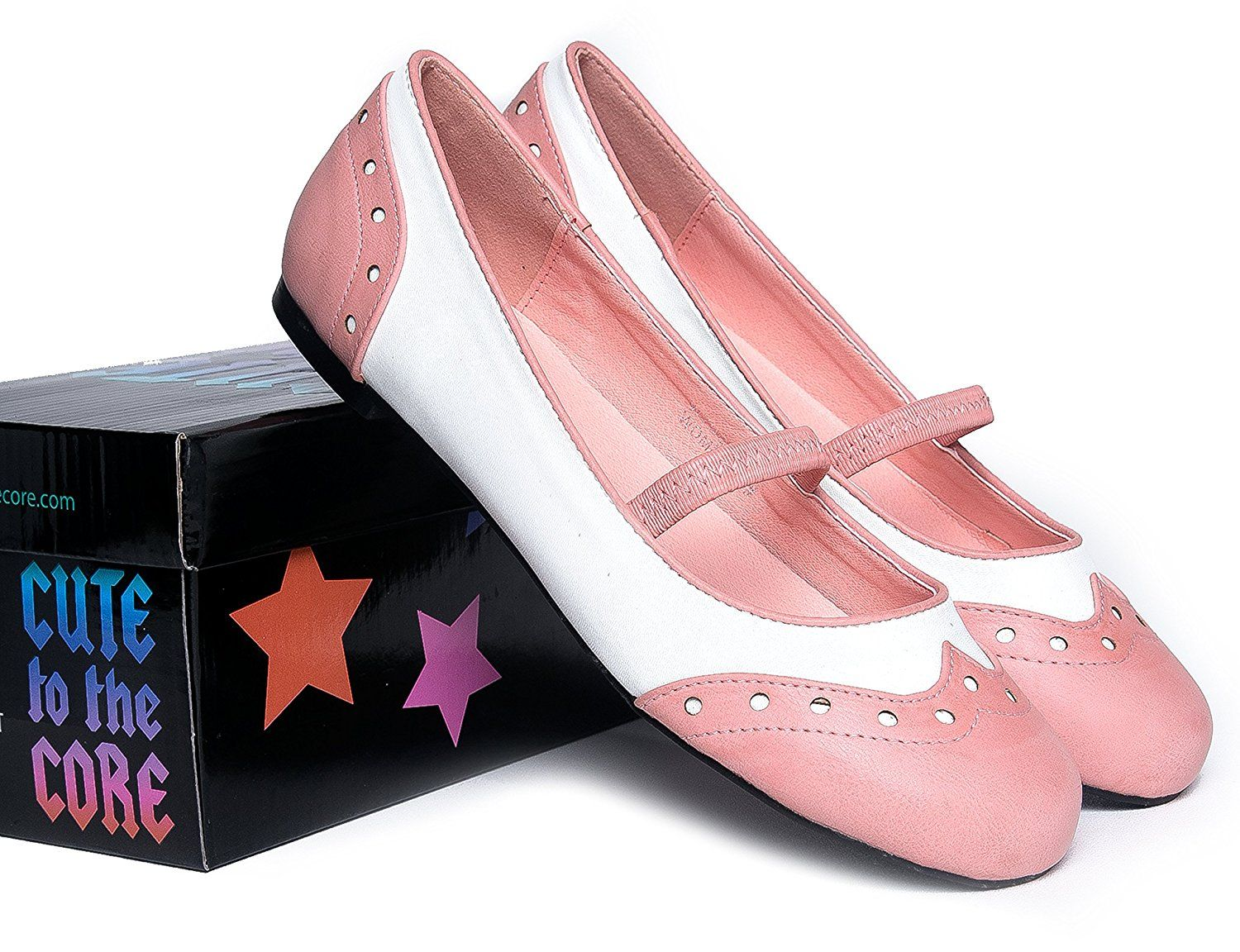 8cb2e7f1e Rockabilly Shoes- Pin Up Flats | Cute Pinup 1950s Mary Janes | Scallop Pink  and white spectator saddle shoes