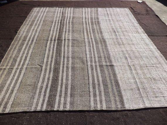"Large Grey Kilim Rug,8,11""x10,2"" Feet 272x310 Cm Living Room Floor Decor Turkish Kilim Rug,Grey Kilim Rug,9x10 Rugs."