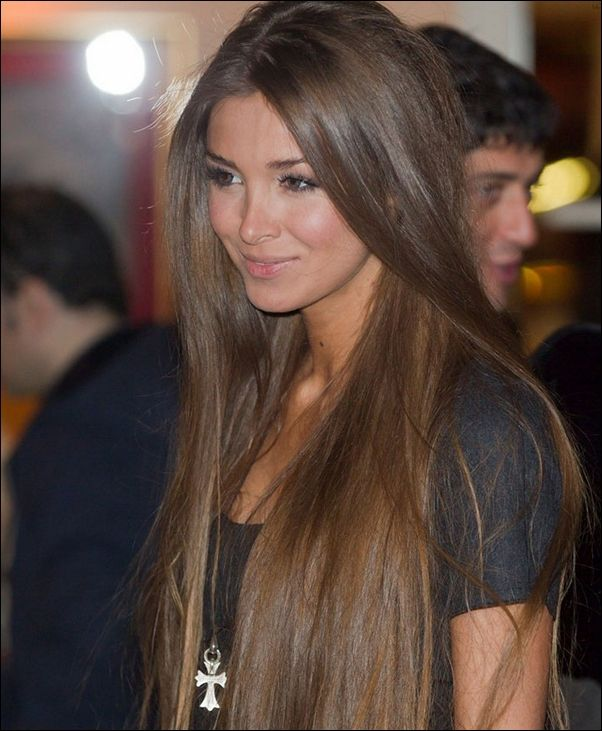 Super long ash brown hair with golden highlights - gorgeous