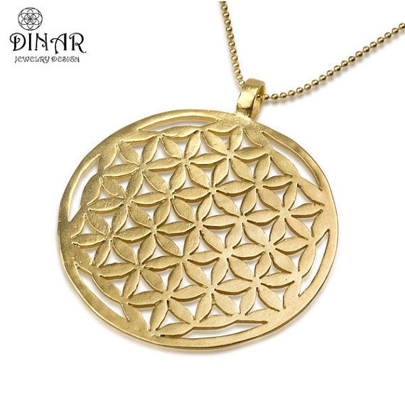 18k gold plated flower of life large pendantsterling silver base 18k gold plated flower of life large pendantsterling silver base statement necklace kabbalah mozeypictures Gallery
