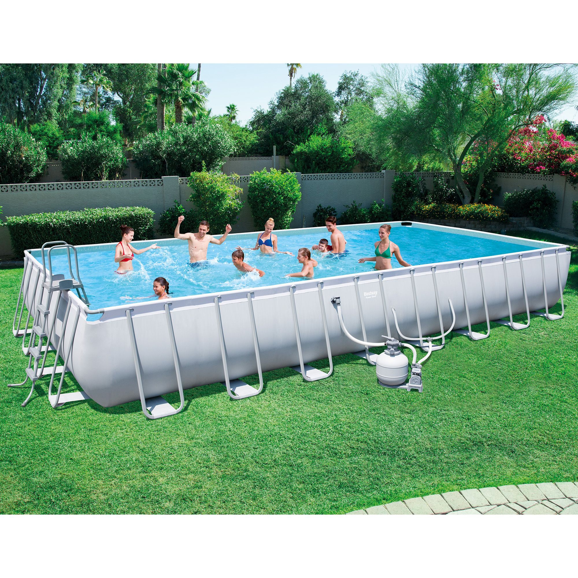 Bestway 56625e Power Steel 31ft X 16ft X 52in Rectangular Above Ground Pool Set Swimming Pools In Ground Pools Above Ground Swimming Pools