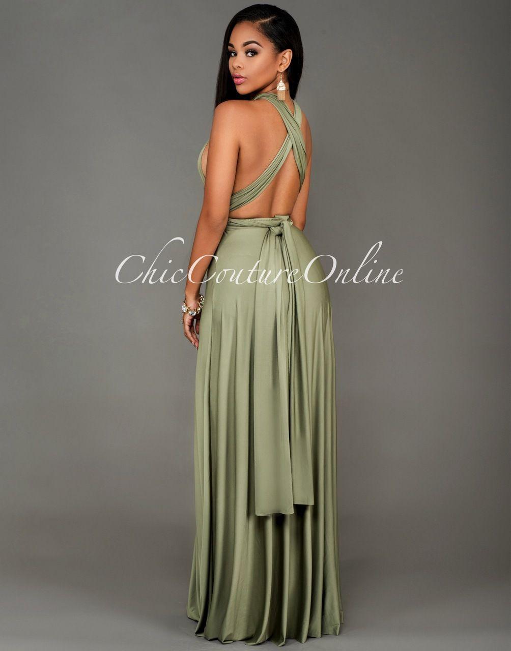 Soledad olive green multiway maxi dress cute dresses jumpsuits