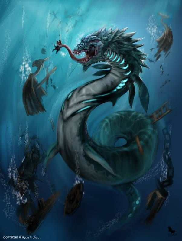 Leviathan - giant water reptile/saurus - Greek and Jewish ...
