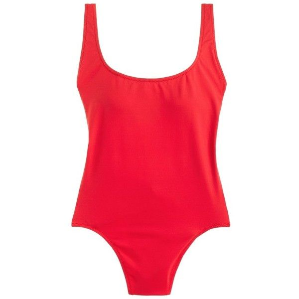 7bf0c4ea2e875 Women's J.crew Scoop Back Italian Matte One-Piece Swimsuit ($98) ❤ liked on  Polyvore featuring swimwear, one-piece swimsuits, bohemian red, strappy  bathing ...