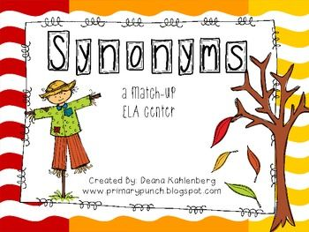 Fall Synonym Match Up Freebie Ela Writing 2nd Grade Writing First Grade Reading