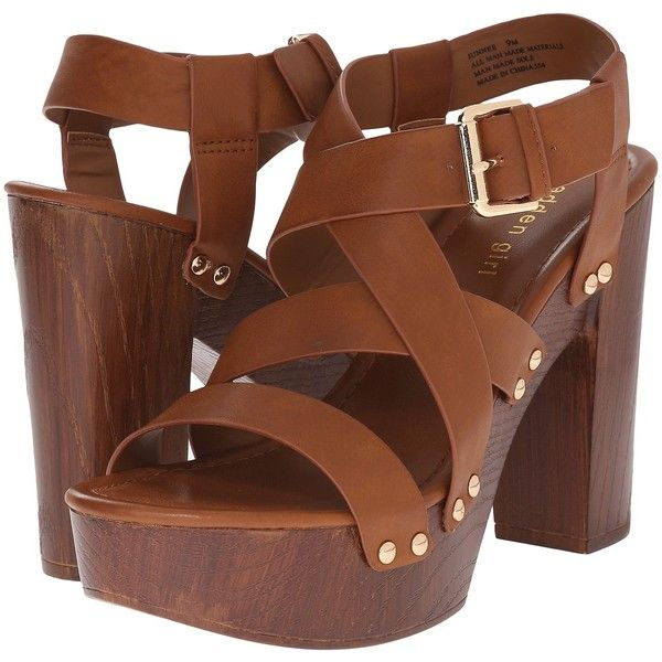 Madden Girl Junnee Women's Sandals, Brown ($45) ❤ liked on Polyvore featuring shoes, sandals, brown, vegan shoes, platform faux leather sandals, platform shoes, madden girl shoes and brown chunky heel sandals