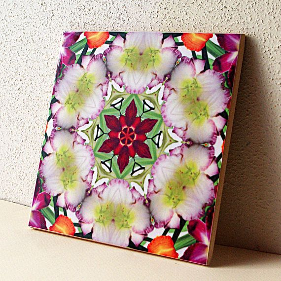 Decorative Tile Coasters Best Daylily Kaleidoscope Mandala Decorative Tile Coaster Unique  Art Decorating Design