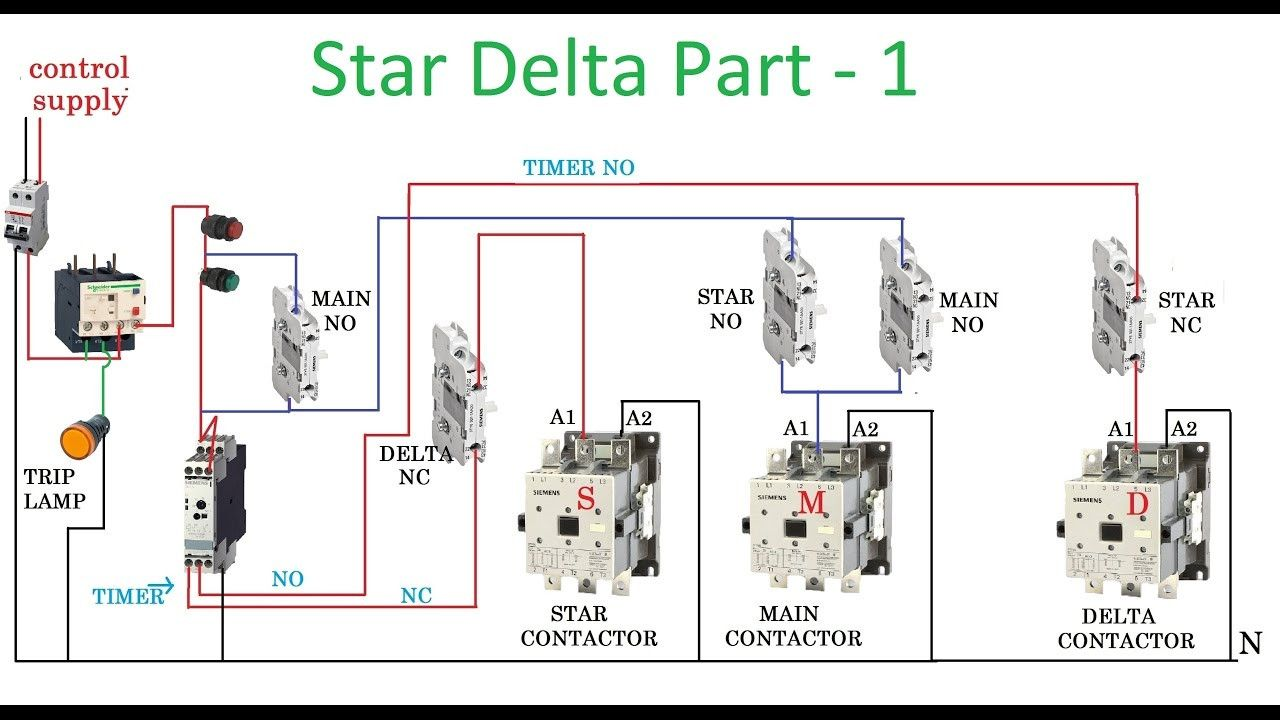 star delta starter motor control with circuit diagram in hindi magnificent no nc contactor wiring [ 1280 x 720 Pixel ]