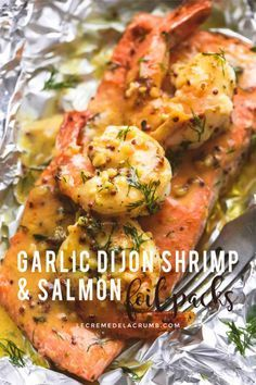 Photo of Bold and savory garlic dijon shrimp and salmon foil packs are loaded with your f…