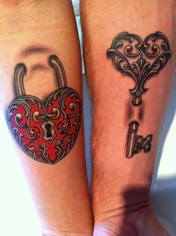 Lock and a key tattoo