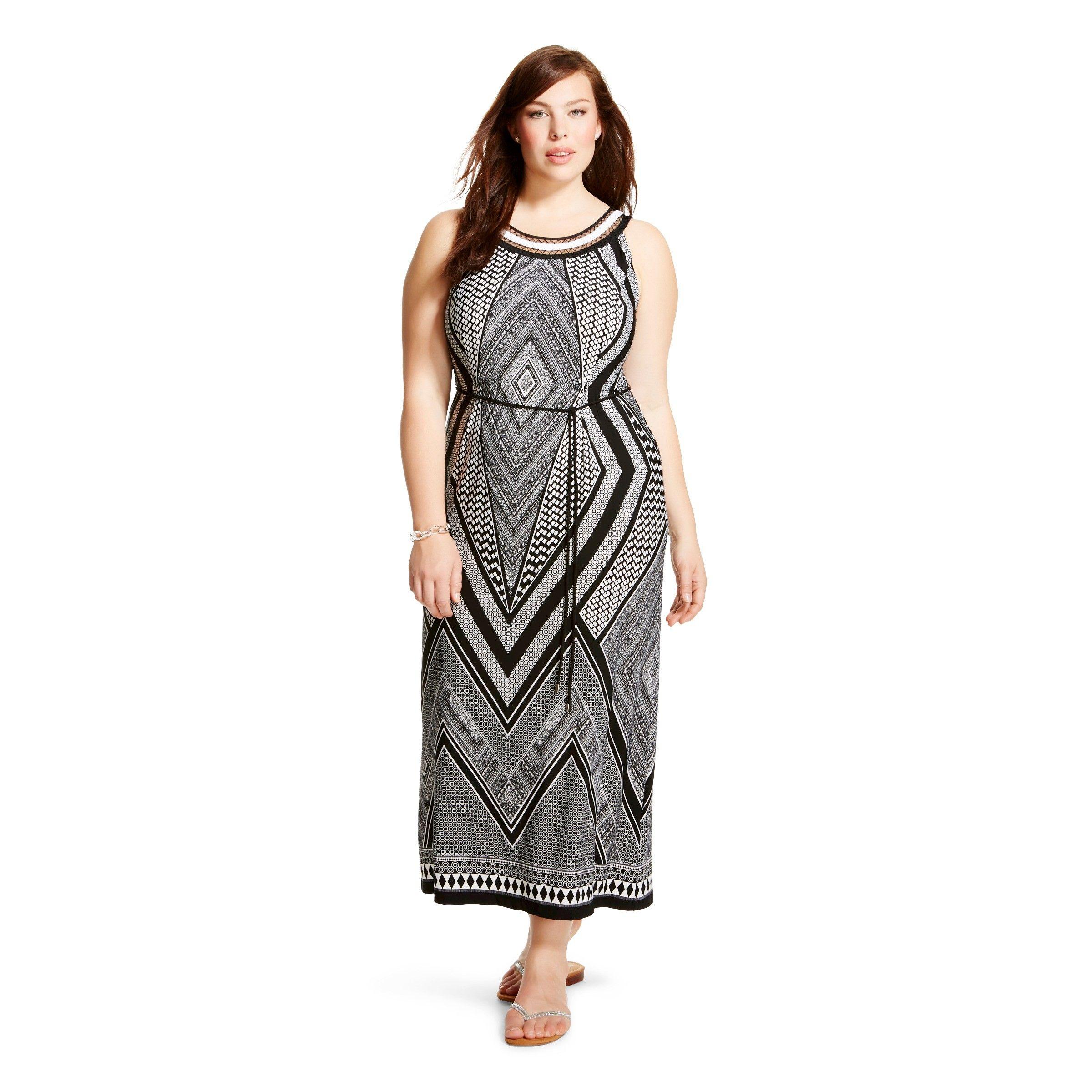 Women s Plus Size Sleeveless Maxi Dress Black White Studio e