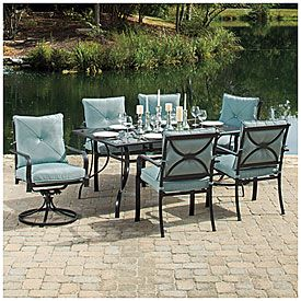 Wilson Fisher Somerset 7 Piece Dining Set 7 Piece Dining Set Dining Chair Cushions Outdoor Porch
