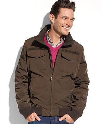 6529df934 Tommy Hilfiger Jacket, Camo-Lined Double-Pocket Performance Bomber ...