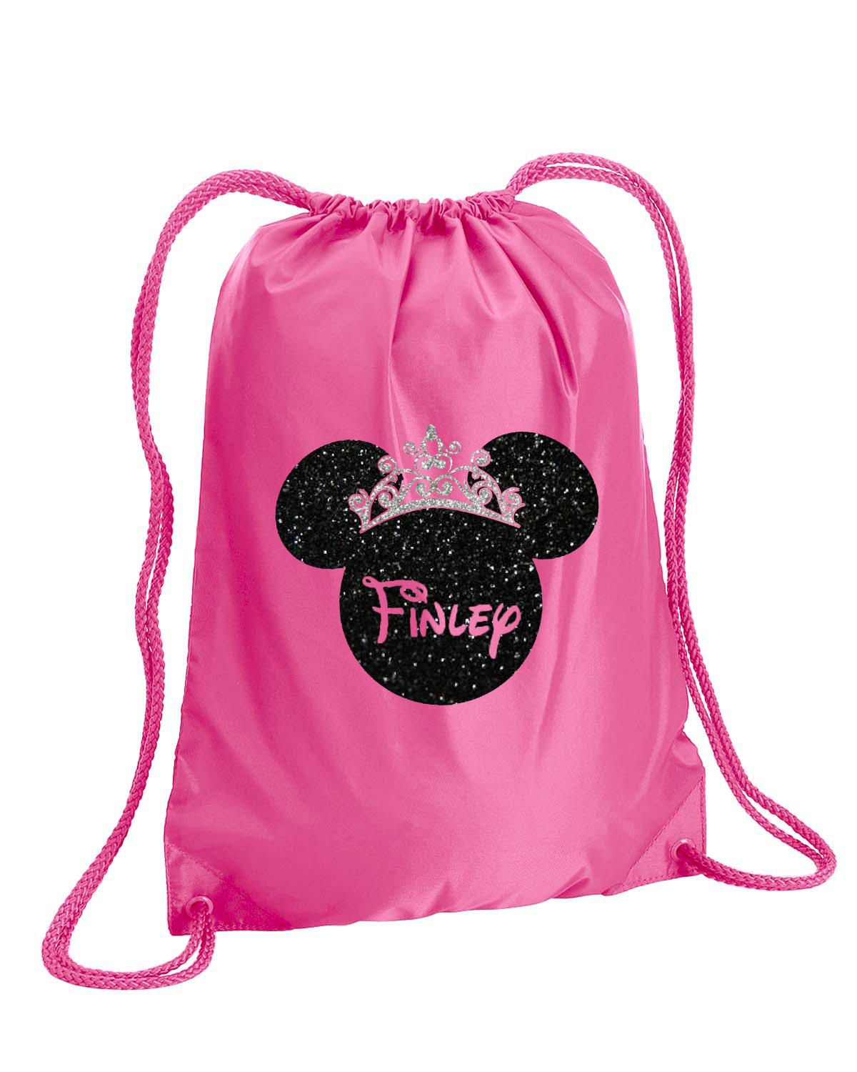 Minnie Mouse Bag Silver Glitter Drawstring Disney Cheer Backpack