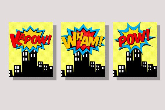 SUPERHERO CITY Wall Art Superhero Pop Art by myhappylifedesigns ...
