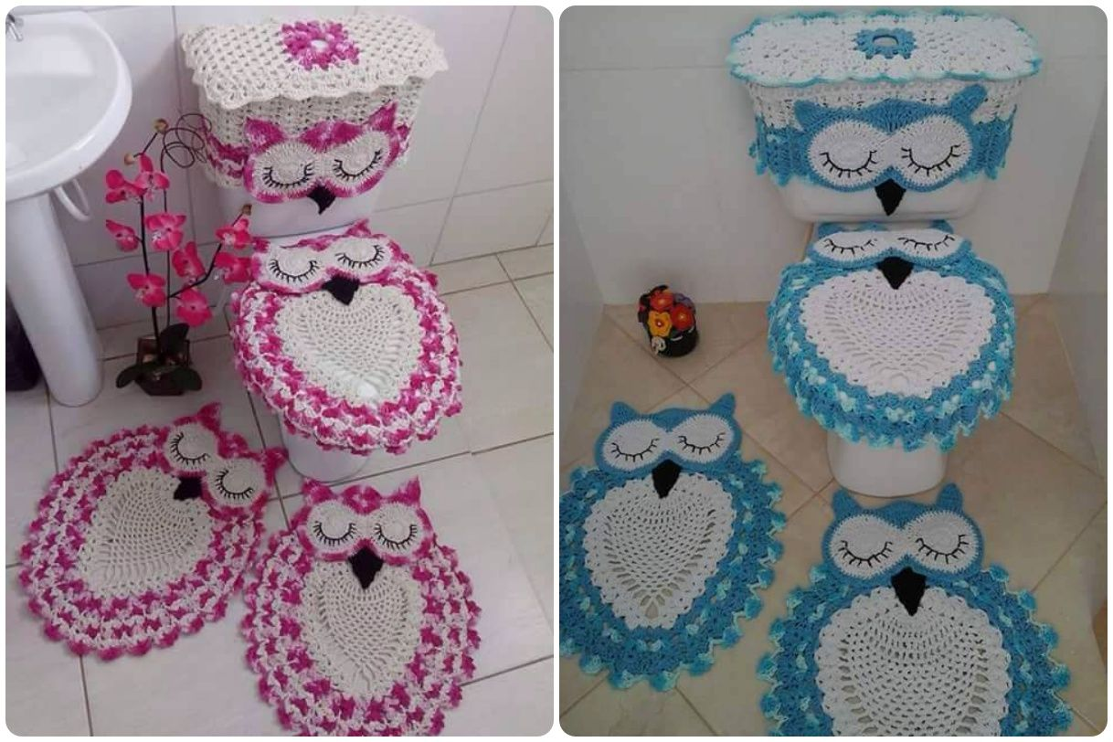 Crochet Owl Bathroom Set with Free Pattern  Owl crochet patterns