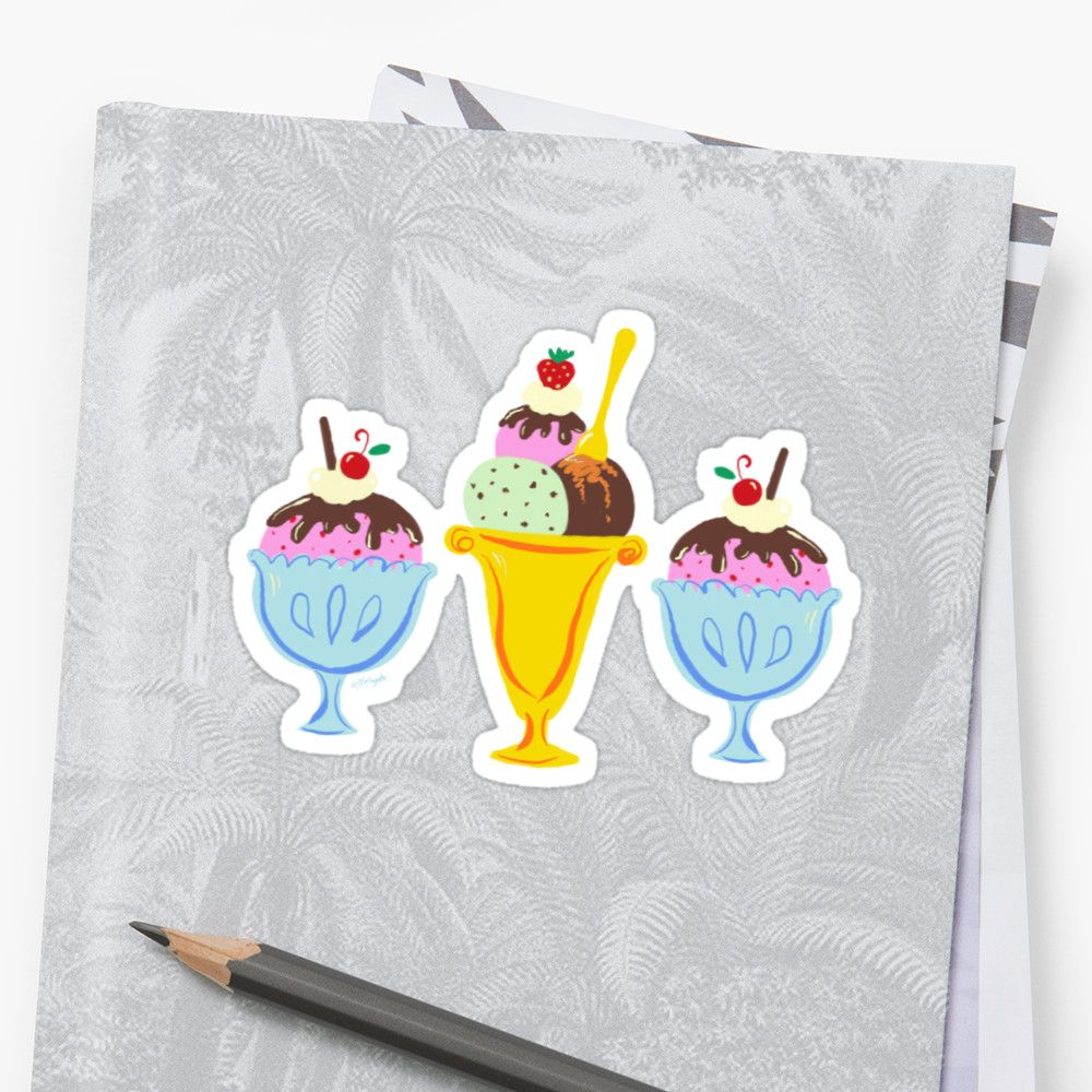 A whimsical trio of ice cream sundaes with hot fudge, whipped cream and a cherry on top!  Perfect sticker for ice cream lovers!     #Stickers #IceCream #Sundae