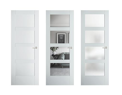 Masonite Solid Core 4Lite Frosted Glass Barn Interior Door